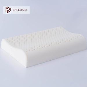 LIV-ESTHETE 100٪ النقي الطبيعي اللاتكس وسادة السرير النوم مريح الرقبة العنقي الرقيقة حماية الوسائد تدليك للنوم العميق