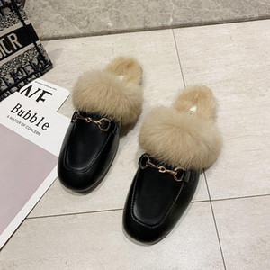 AutumnWinter New Real Fur Metal Buckle Mules Women Shoes Loafers Pregnant Shoes Women Furry Slides Fluffy Baotou slippers