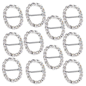 10 Pieces Oval Shape Alloy Crystal Buckle Ribbon Slider for Wedding Invitation Decoration