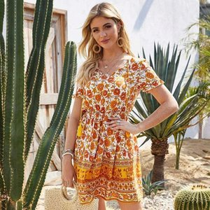 A-line yaz baskı püskül diz üstü, mini kısa v yaka streetwear doğal düzenli msfilia # wf5b