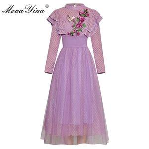Повседневные платья Moaayina моды дизайнерские взлетно-посадочные платья весна осень женские оборки с длинным рукавом бисером блестки вышива