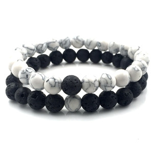 2pcs set 8mm White Howlite stone and Volcanic Rock Lava Stone Beads Bracelets set For Women Men Stretch Jewelry gift A18038