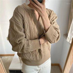 Kitty alien kitty outono moda coreano casual espessado suéter sólido mulheres Rhombic textura v-pescoço solto manga longa suéter1