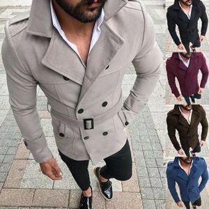 Moda Uomo Inverno Lana Trench Coat Streetwear Reefer Jacket solido Doppio Petto Peacoat formale cappotto Parka