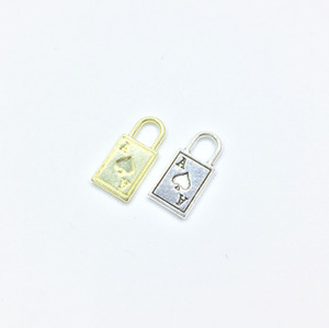 Eruifa 20pcs 19*9mm Pretty Poker Lock Zinc alloy Jewelry DIY Charms Pendant Necklace,Eearrings 2 Colors