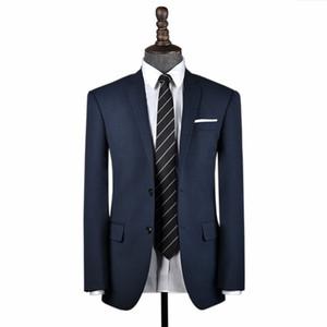 Slim Fit Men wool Blue navy Birdseye suit Custom made suit for wedding business Formal men suit