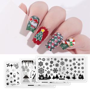 1PC 12.5x6.5 листьев Геометрических животные Image Stamp печать шаблон Tool Christmas Snowflake Elk Nail Art шаблон печать