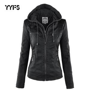 Yyfs chaqueta de cuero con capucha para mujer chaqueta de motocicleta gótico Faux Black Outerwear Faux PU 2020 invierno abrigo de otoño ramoneska