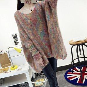 Mulheres snordic outono inverno multicolor superdimized suéter batwing manga rodada colar de malha pulôveres casuais jumpers