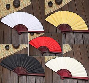 100pcs Large 27cm 33cm Folding Fan Black White Cloth Bamboo Hand Fans DIY Craft Art Planting Ornaments Men's Outdoor Handfan