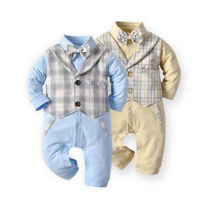 INS 2020 autumn gentleman baby romper bow tie long sleeve boys romper newborn rompers baby boy clothes Infant Jumpsuit wholesale B2332