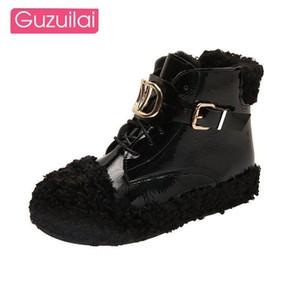 GUZUILAI 2020 осень и зима новых женщин обувь Корейский случайные плоские короткие короткие сапоги плюс бархат теплой Мартин сапоги женщин