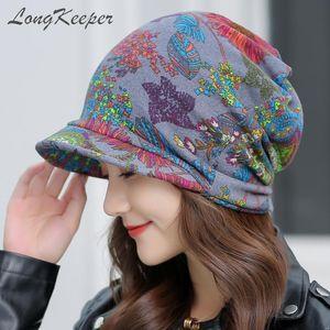 LongKeeper Women's Floral Visor Beanies Female Autumn Winter Ponytail Vintage Warm Fashion Hat Caps Free Shipping for Brazil