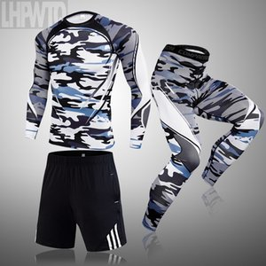 Brand 3 pcs Sets Running sets men's gym sportswear suit t-shirt sports thermal underwear leggings training clothes jogging men 1004