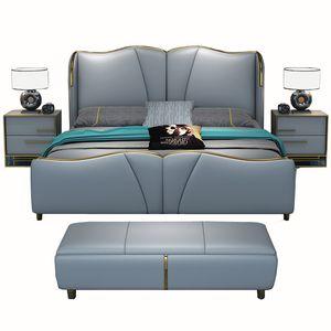 Итальянский дизайн Современная спальня кожаная роскошная кровать Кровать King Size и Queen Size Кровать Кожаный изголовье с тумбочками
