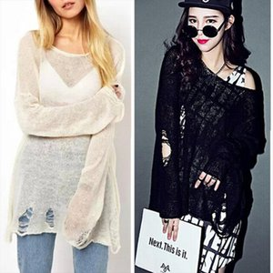2015 Womens Loose Hole Sweater Hollow out Asymetric Hem Loose Knitted V neck Long Sleeve Thin Sweater Tops