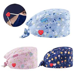 3pcs Scrub Cap Fashion Button Print Work Hat Casual Unisex Scrub Cap Ear Protection Hats Casquette Chirurgicale 2020 #T2G