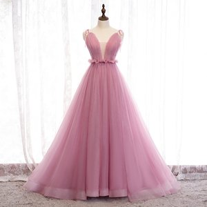 Tulle Pink Wedding Dress Ball Gown Spaghetti Straps Pleats vestidos de novia with Court Train Backless Wedding Gowns
