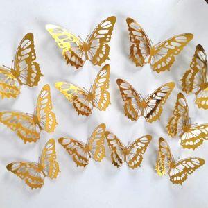 Adesivi murali creativo farfalla 3D Tessuto Hollow Soggiorno Camera da letto Butterfly Decorazione della farfalla di simulazione di bellezza Wall Sticker VT1940