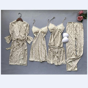 Youhottest Women Floral Print Silk Robe with Gown sets 5pcs Sexy Lingerie Robe Set