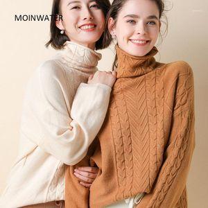 Moinwater Mujeres Nueva Moda Suéter de punto Señora Slim Turtleneck Blue Cashmere Pullover Mujer Black Tops Suéteres MS19021