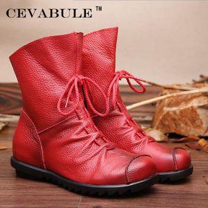 Cevabule de couro genuíno feito à mão mulher inverno mulheres redonda dedo do pé botas mulher sapatos .zxw-1806 201106