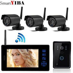 """SmartYIBA 7"""" couleur vidéophone sans fil Vidéo Interphone Portier Portier IR Night Vision Quatre Kit Caméra"""