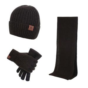Men's Winter Beanie Hat Neck Warmer Scarf and Touchscreen Gloves Set 3 PCS Knitted Cap Set for Men & Women
