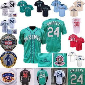 Ken Griffey Jr Jersey 1995 1997 빈티지 야구 전당 홈 멀리 그린 화이트 크림 풀오버 버튼