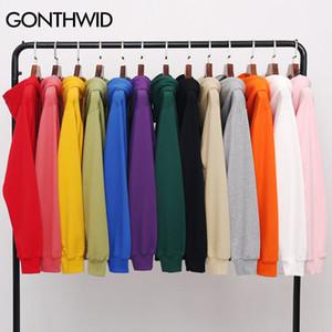 GONTHWID Men's Hoodies Pullover Casual Solid Color Sports Outwear Hooded Sweatshirts Hoodies Fashion Streetwear Sweatshirt Tops Y1109