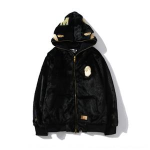 상어 코트 zipperWool 모직 ffhfa 패션 지퍼 천으로 가을과 겨울 새로운 상어 자수 몸 전체 WGM 문자 브랜드 코트를 zipperhooded