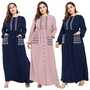Plus Size Muslim Women Abaya Islamic Maxi Long Sleeve Dress Buttons Pocket Kaftan Jilbab Dubai Cocktail Party Loose Robe Gown