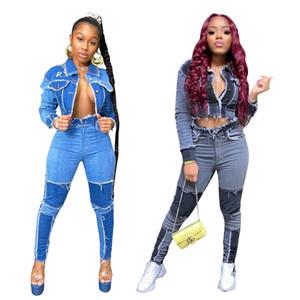 Donne Blu Denim Jeans insieme a due pezzi del vestito a maniche lunghe giacca Bassiera Pants Set femminili 2 Club Piece Outfits Prodotti coordinati