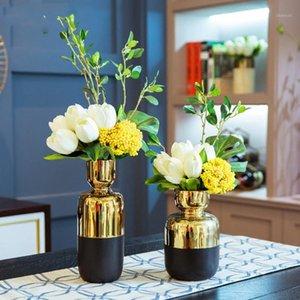 Vases Nordic Creative Gold et Black Vase Céramique Vase Décoratif Arrangement Fleur Accessoires Accessoires Moderne Accueil Décor Mariage Vase1