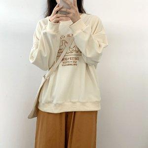 2020 Kış Moda Sevimli Ördek Artı Kadife Uzun Kollu Sıcak Nakış Yuvarlak Boyun Kazak Kazak Kadın Kapşonlu T-shirt