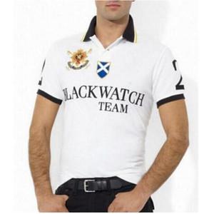 뜨거운 판매 남자 클래식 폴로 셔츠 큰 말 자수 면화 경주 골프 클럽 남성용 폴로스 짧은 소매 티셔츠 화이트 블랙 레드 블루