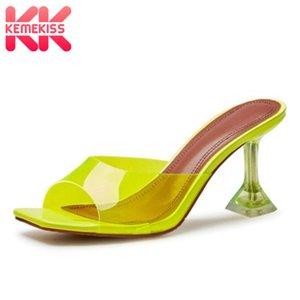 KEMEKISS Women Sandals Strange Heels Pvc Women Summer Shoes High Quality High Heel Jelly Shoes Club Footwear Size 34-40