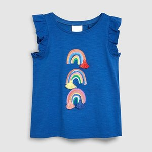 Little Maven 2-7Year Sommer Regenbogen Einhorn Spitze Kurzhülse T-Shirt für Baby Mädchen Kinder Kleinkind Mädchen Kinder Baumwolle T-Shirt Y200409