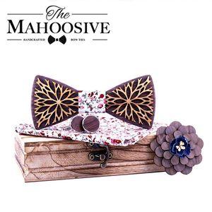 Handkerchiefs Design 100% Wood Men Tie Classic Business Neck Wooden Bow For Suit Wedding Party Necktie Factory Sale