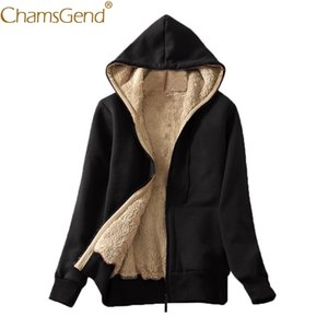 Women Warm Plush Zipper Hooded Sweatshirt with Pocket Female Casual Long Sleeve Coat Streetwear Solid Hoodies