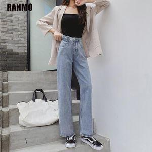 Ranmo High Cintura Jeans Mujeres Talla grande 5XL Moda Coreana Streetwear Calidad Vintage Jeans Verano Femenino Harajuku Pantalones rectos