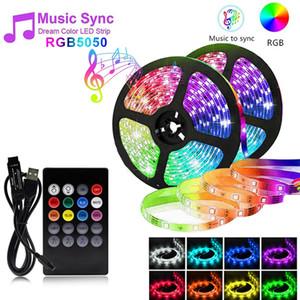 Wasserdichte USB-LED-Streifen-Licht SMD 5050 Music Control RGB RF Remote Flexible Tape String Lampe für DVTOP-Hintergrund