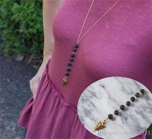 Lava -Rock Korn Pfeil Quaste lange Halskette Aromatherapie ätherisches Öl Diffusor Halskette Black Lava Anhänger Halskette Schmuck R099