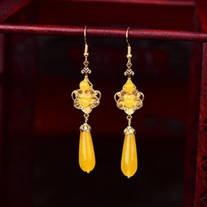 Fashion Trend Ethnic Style Earrings All-matching China Chic Retro Classical Eardrop Ornaments Water Drop Yellow Crystal Earrings