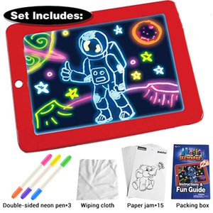 3D Magic Drawing Pad LED Light Luminous Board Intellectual Developmen Toy Children Painting Learning Tool Painting Toy 201014