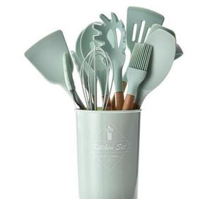 Sile Kitchenware conjunto com punho de madeira Spot Spoon Scoop Spatula Tongs Utensilios de Cocina Cozinha WMTJAB JJXH