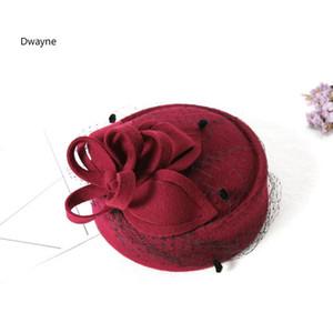 أنيقة من الصوف السيدات زهرة القلب قبعة فيدورا للنساء DOT الحجاب الزفاف قبعة من الصوف الخالص قبعات قبعة صغيرة مستديرة الخريف الشتاء القبعات