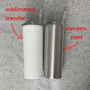 20oz Skinny Tumblers Sublimation Blanks Tumbler Stainless Steel Coffee Mugs Beer Classic Cup With Lid straws Sea Shipping OWF2920