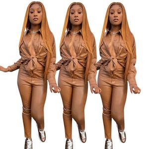 Khaki PU Leather Women Two Piece Sets Lady's Streetwear Turn-down Collar Single-breasted Shirts High Waist Skinny Pants Set 2021 Newest