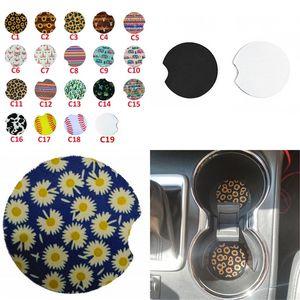 Car Coaster Car Coasters Diy Placemats Phreatic Material Cactus Fashion Leopard Print Plant Unicorn Round 1 5ny F2